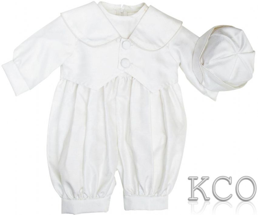 Dupion Romper White~ Boys Suits